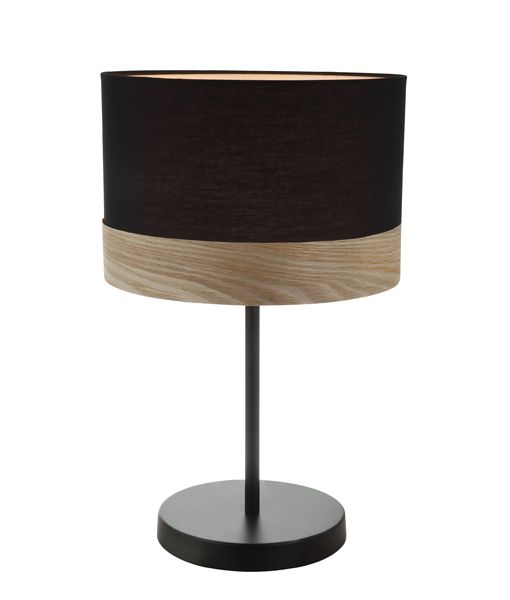 TAMBURA10TL: Interior table lamps. ES (Max 72W Hal) Medium RND (Black Cloth Shade with Blonde Wood Trim) OD300mm x H470mm. CLA