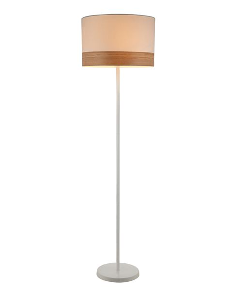 TAMBURA11FL: Interior floor lamps. ES (Max 72W Hal) Large RND (White Cloth Shade with Blonde Wood Trim) OD400mm x H1475mm. CLA