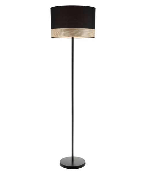 TAMBURA12FL: Interior floor lamps. ES (Max 72W Hal) Large RND (Black Cloth Shade with Blonde Wood Trim) OD400mm x H1475mm. CLA