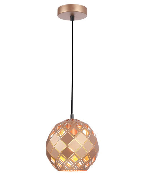 TUILE2: Interior single pendant light. ES 72W Champagne Gold Embossed Tiled Wine Glass. CLA Lighting