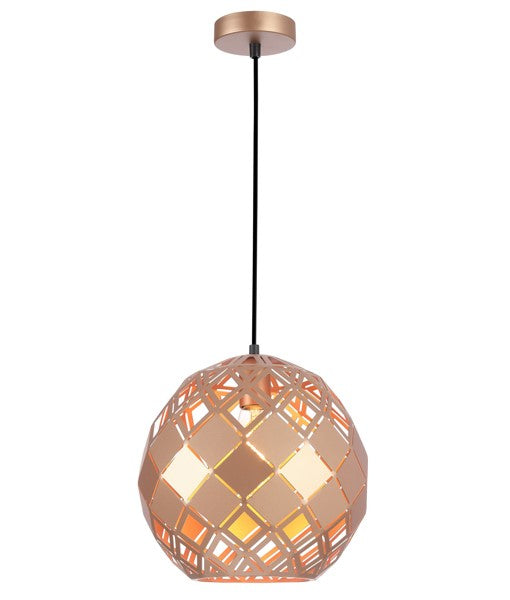 TUILE5: Interior single pendant light. ES 72W Champagne Gold Embossed Tiled Wine Glass. CLA Lighting