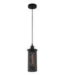 VENETO1BK: Interior single pendant light. ES Lamp 72W Black MESH OD120mm x H230mm 3m cable. CLA Lighting