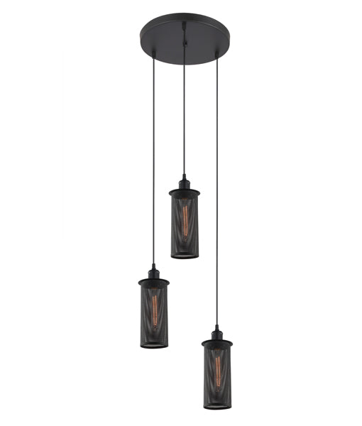 VENETO1X3BK: Interior triple pendant light. ES Lamp x 3 72W Black MESH OD320mm x (H230mm x 3) RND Base OD 300mm. CLA Lighting