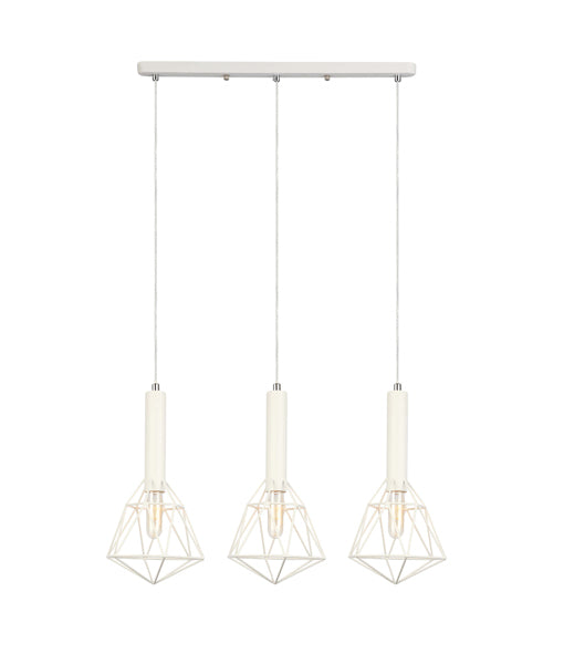 WHITEBAND1X3: Interior multiple pendant light. S x 3 WH CAGE DIAMOND OD590mm x H400mm BAR BASE L550mm x W40mm 3m cable. CLA