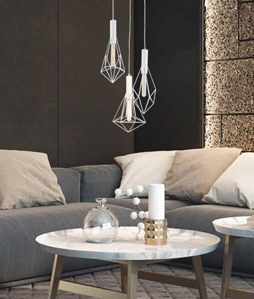 WHITEBAND2X3: Interior multiple pendant light. ES x 3 WH CAGE Various DIAMOND OD390mm RND BASE OD310mm 3m cable. CLA
