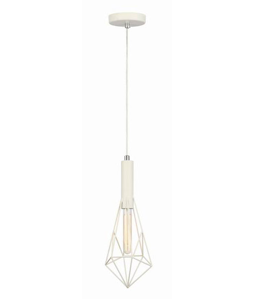 WHITEBAND5: Interior single pendant light. ES CAGE WH SML DIAMOND OD175mm x H440mm 3m cable. CLA Lighting