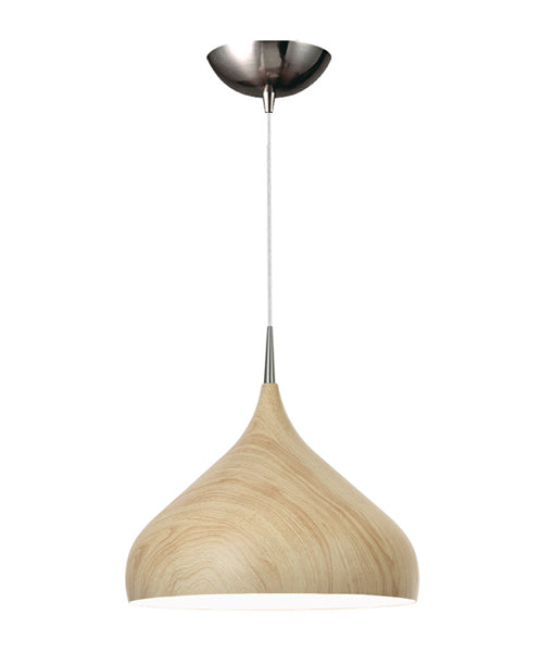 ZARA6A: Interior single pendant light. ES 60W OAK WOOD DOME OD420mm x H370mm 3m cable. CLA Lighting