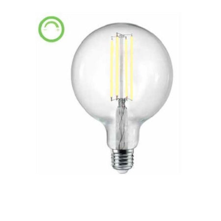 FIL037: LED round lamp. E27, 6W, AC240V, CLEAR, 4000K, 525 lumens, 360 Beam angle, dimmable. Azoogi