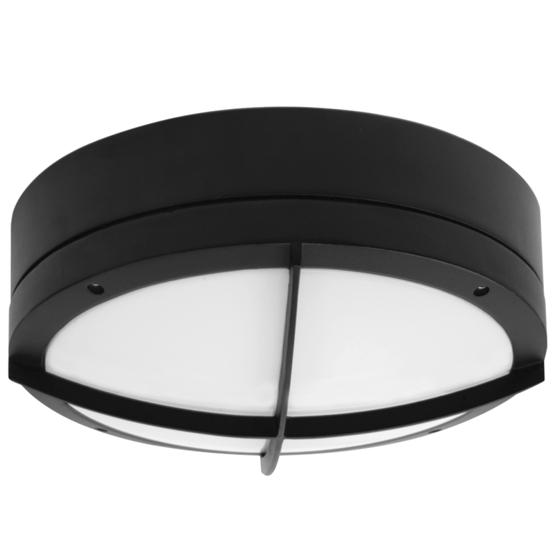 COOPER SE7084L: 23 watt, IP65 LED commercial bunker luminaire, IK10 rated. Black or silver finish. Warm White or Day Light