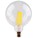 LG125/27B22D/C, LG125/27E27D/C- 8 watt dimmable LED filament clear spherical lamp. Clear glass diffuser, CRI > 80, B22 or E27 bases