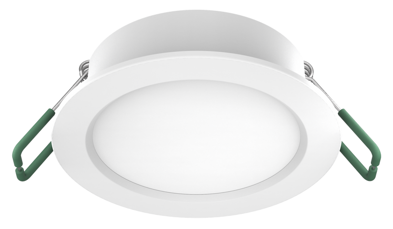 TRADER S9140TC. Dimmable IP44, 8 watt LED downlight with selectable colour temperature TC. white powder coat finish. ROUND