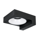 SE7064WW/BK: Decorative square profile IP65 architectural LED wall mount luminaire. 8watt, 3000K, Warm white. Black finish. IP65. SAL Lighting.
