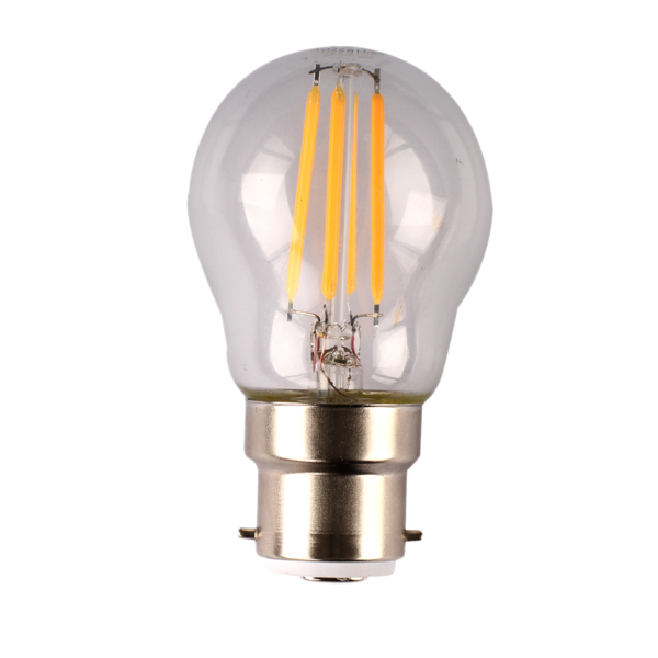 LFR27B15D/C, LFR27E14D/C. 4 watt dimmable LED filament fancy round clear style lamps. Clear glass diffuser, B15, B22, E14, E27 bases