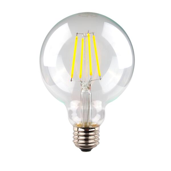 CLEAR SPHERICAL LG95. 6 watt dimmable LED filament clear spherical lamp. Energy efficient LED lamp solutions,BC or E27 bases