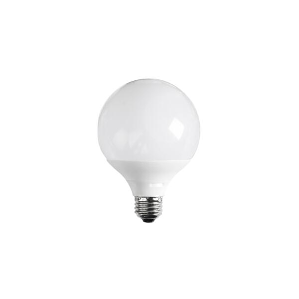 Energy efficient OPAL DIM LG95. 10 watt dimmable LED SMD opal spherical lamp. Poly covered aluminium body, B22 or E27 lamp bases