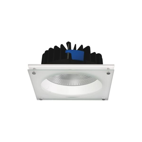 UNI LED S9656- 25 watt ROUND AND SQUARE PROFILE IP54 LED downlights. white powder coat finish. Glass cover