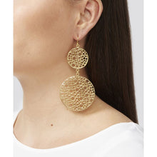Load image into Gallery viewer, The double circle earrings measure 8.5 cm in length. These earrings are 22k gold plated with hypoallergenic sterling silver hooks.  The earrings will come packaged in a gorgeous silk gift pouch.  - Length : 8.5 cm - Gold plated - Sterling Silver Hooks that have been plated gold