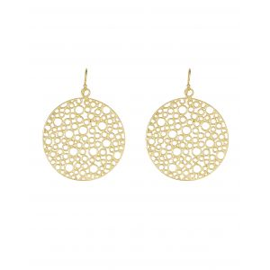 The large gold circle earrings feature a unique cutwork design. These earrings are 22 carat gold plated on a lightweight base metal and they have hypoallergenic, sterling silver earring hooks.