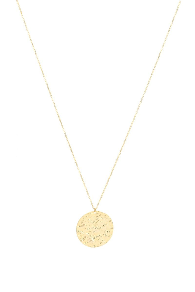 22k Gold plated necklace with large hammered coin