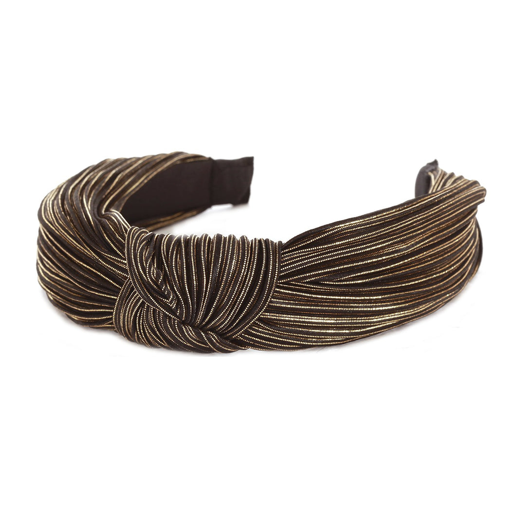 Bronze metallic pleated headband with a knot in the middle.