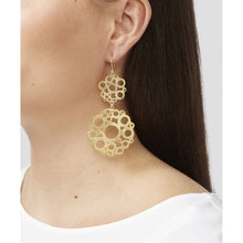 Load image into Gallery viewer, These statement earrings are 22 carat gold plated on a lightweight base metal and they have hypoallergenic, sterling silver earring hooks. They have a beautiful geometric design.