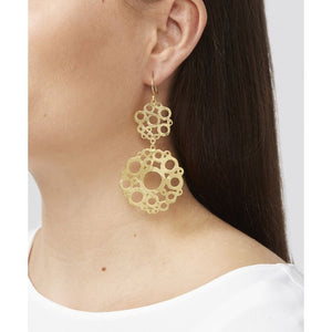 These statement earrings are 22 carat gold plated on a lightweight base metal and they have hypoallergenic, sterling silver earring hooks. They have a beautiful geometric design.
