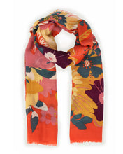Load image into Gallery viewer, Orange floral scarf