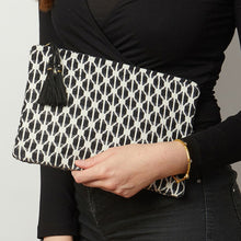 Load image into Gallery viewer, Black and white patterned clutch bag crafted with unique weaves and textures.  Size 26.5cm x 18cm