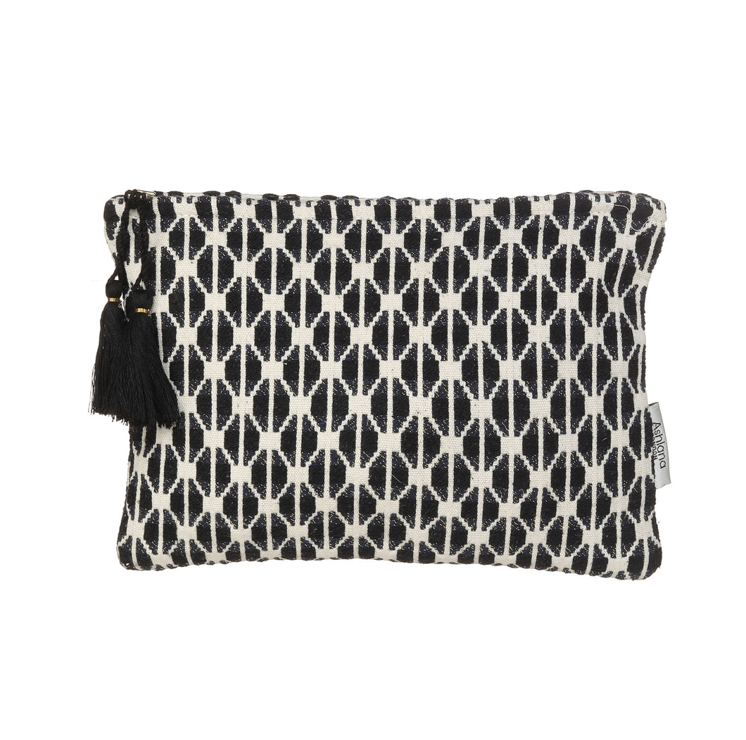Black and white patterned clutch bag crafted with unique weaves and textures.  Size 26.5cm x 18cm