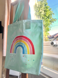 Sass and Belle Rainbow 'Good Vibes only' Tote.    Colour Aqua/blue  Size - L39 x H41.5 cm excluding handles  Material 12oz Canvas