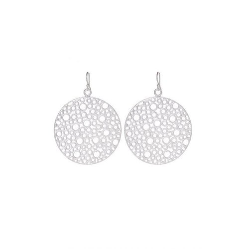 The Silver circle earrings feature a unique cutwork motif. The circle earrings are silver plated on a lightweight base metal and they have hypoallergenic, sterling silver earring hooks.  The earrings will come packaged in a gorgeous silk gift pouch.  - Length : 5 cm - Silver plated - Sterling Silver Hooks