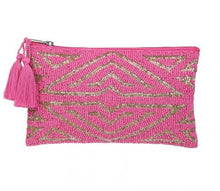 Load image into Gallery viewer, Beautifully beaded in pink and gold, on the front and pink canvas at the back. This clutch can be used as a cosmetic bag or carried as a summer time or evening clutch.   Size: 13 x 18 cm  Materials:  Cotton, Polyester & Acrylic