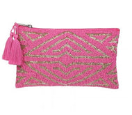 Pink and gold beaded clutch