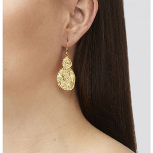 Gold earrings with hammered discs, measure 3.5 cm in length.    This earring style is 22K gold plated with hypoallergenic sterling silver hooks.