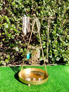 Gold Pyramid jewellery stand.  A beautiful addition to your dressing table to store all of your jewellery pieces.  Size - 12cm x 30cm