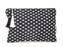 Load image into Gallery viewer, Black and white star clutch bag crafted with unique weaves and textures.  Colours are reversed on the back.  Size 26.5cm x 18cm