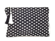 Black and white star clutch bag crafted with unique weaves and textures.  Colours are reversed on the back.  Size 26.5cm x 18cm