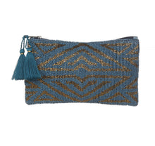 Load image into Gallery viewer, Beautifully beaded in teal and gold, on the front and teal canvas at the back. This clutch can be used as a cosmetic bag or carried aa an evening clutch.    - Size: 18 x 12 cm  - Made in India  - Materials - Cotton, Polyester & Acrylic