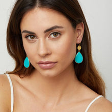 Load image into Gallery viewer, These teardrop earrings are 18 carat gold on hypoallergenic silver hooks with a beautiful green turquoise gemstone.  They are simple and elegant and you can wear them for just about any occasion.   Size:  5cm length