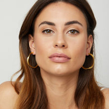 Load image into Gallery viewer, 18K Gold plated twist hoop earrings