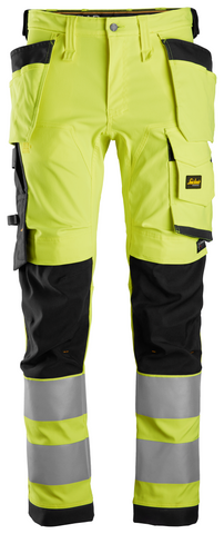 AllroundWork, High-Vis stretch buks med hylsterlommer, klasse 2 High Visibility Yellow - Black