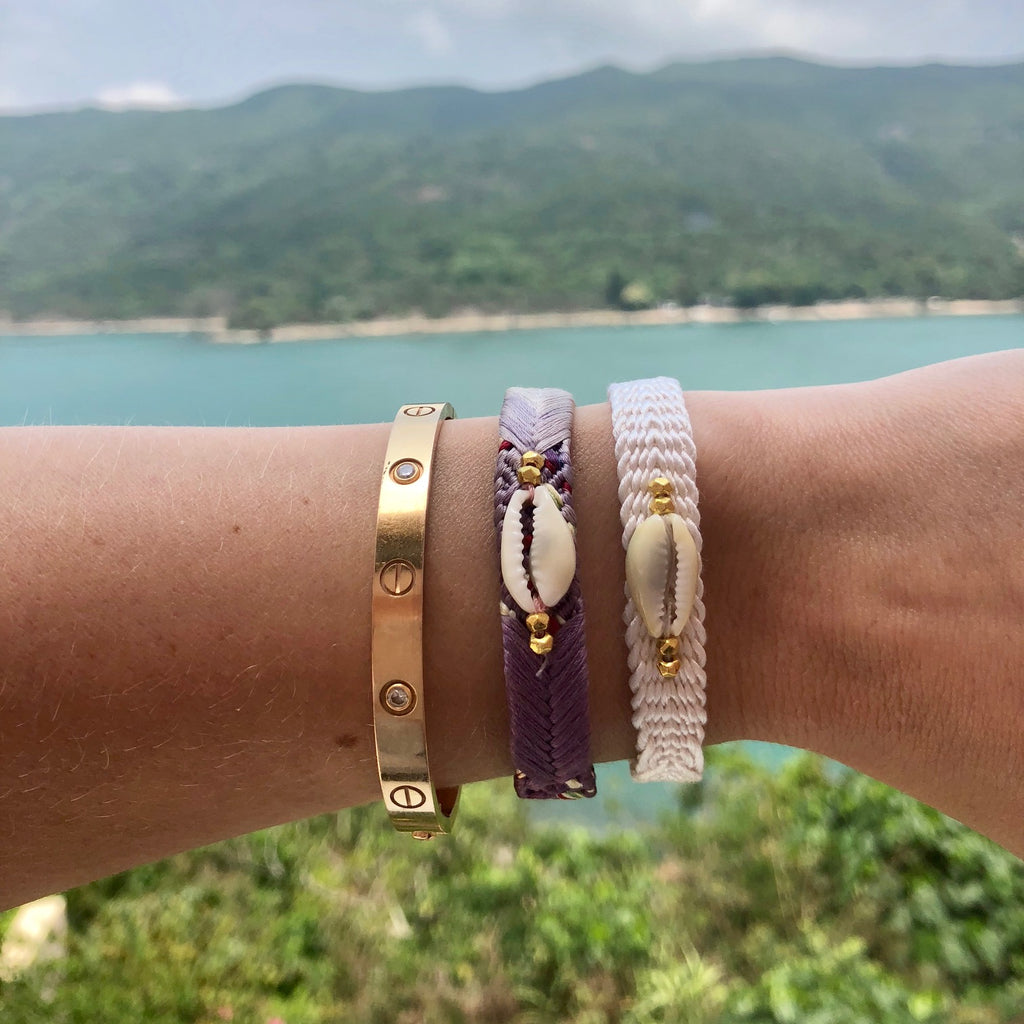 Koh Koh Shell Bracelets - Purple and White