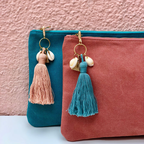 Island Vibes Tassel Clutch Bag - Aqua Blue