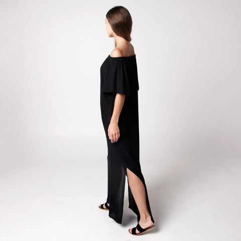 Java Java Off Shoulder Maxi Dress - Black