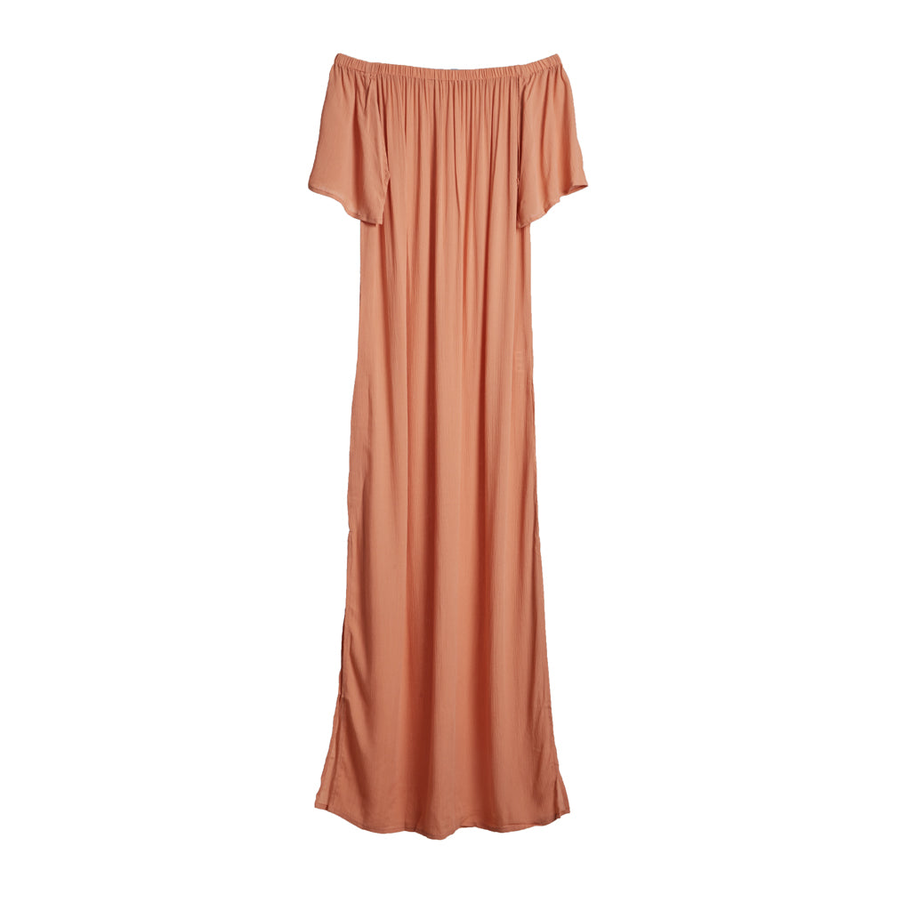 Java Java Off Shoulder Maxi Dress - Coral Pink