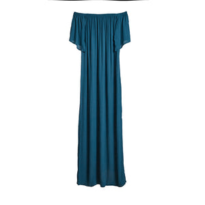 Java Java Off Shoulder Maxi Dress - Petrol Blue