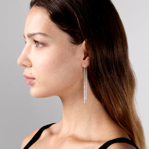Bamboo Threader Earring - Silver