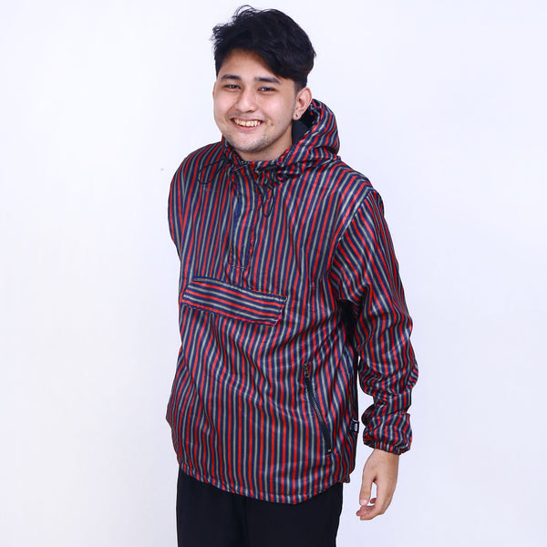 Jacket Anorak Stripe Red Gold