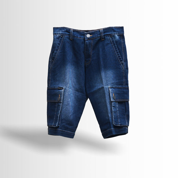 DOUBLE ONE Blue Denim Cargo Default