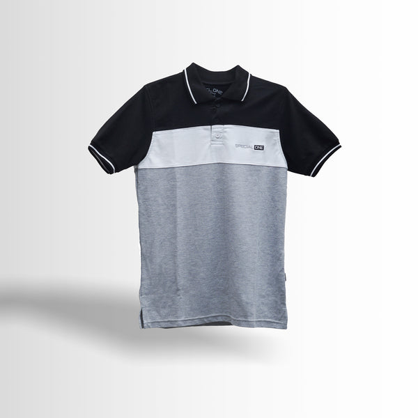 DOUBLE ONE Grayscale Classic Polo Shirt Default